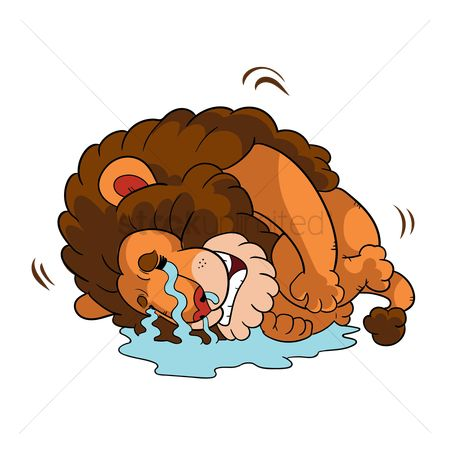 Lion : Cartoon lion crying in fetal position