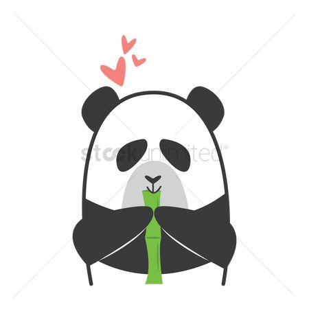 Favourites : Cartoon panda eating bamboo
