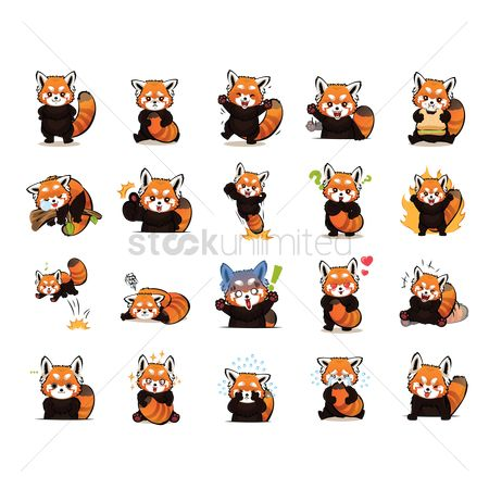 Red : Cartoon red panda expression pack