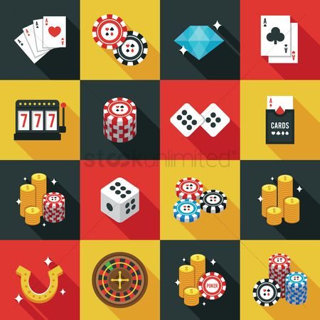 Poker chips : Casino icons set