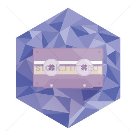 Technology : Cassette tape on abstract hexagon