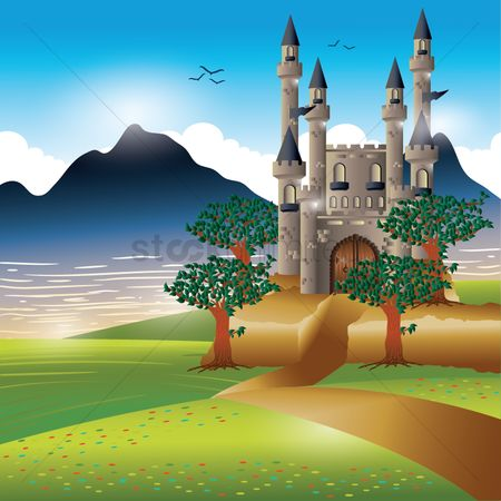 Mountains : Castle at riverside