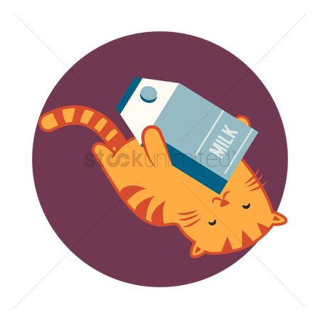 Animal : Cat cartoon rolling around with a carton of milk