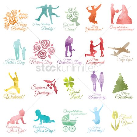 Greetings : Celebration design element collection