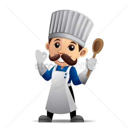 Wooden sign : Chef holding a wooden spoon with okay hand sign