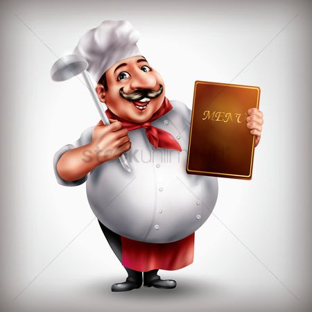 Cook : Chef holding menu and spoon