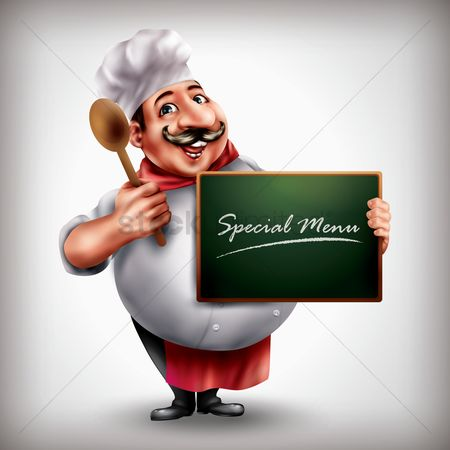 Work : Chef holding menu board and spoon