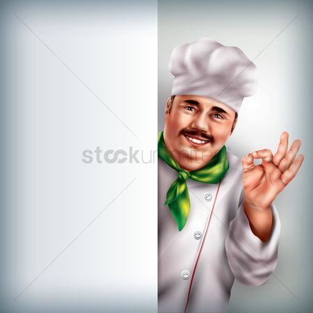 Chef : Chef holding placard