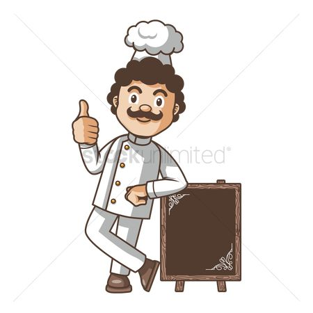 Cook : Chef showing thumbs up sign