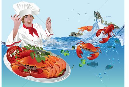 Dishes : Chef with seafood