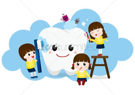 Kids : Children cleaning a tooth