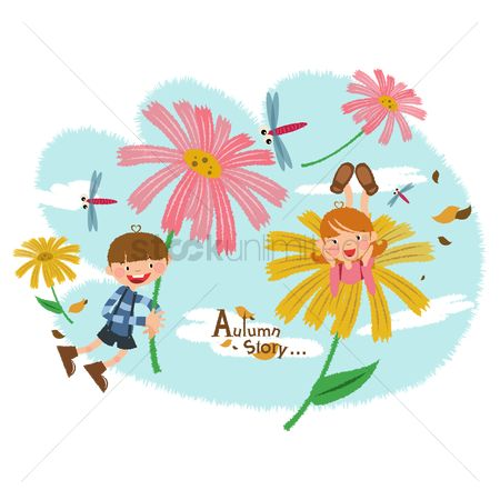Stories : Children flying with flowers