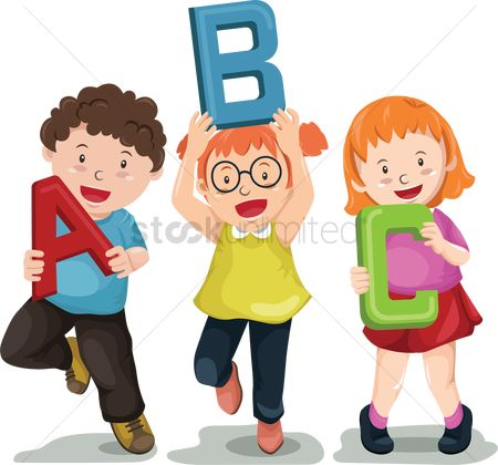 Teaching : Children holding abc letters