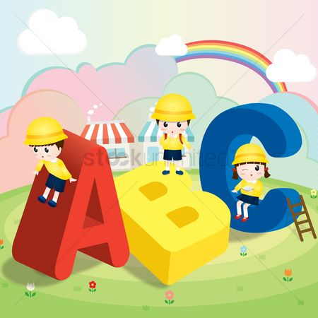 Kids : Children playing with abc alphabets