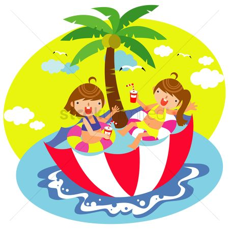 Swimsuit : Children relaxing in the umbrella swimming pool