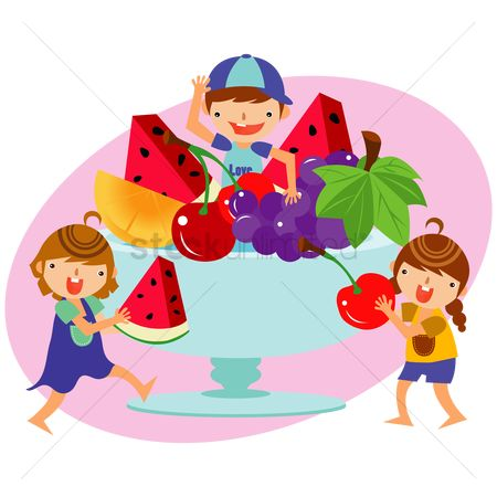 Grapes : Children with a bowl of fruits