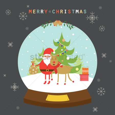 Santa : Christmas globe greeting