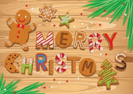 Tables : Christmas greeting with gingerbread on wooden table