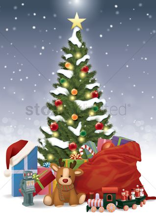 Santa : Christmas tree with presents and toys