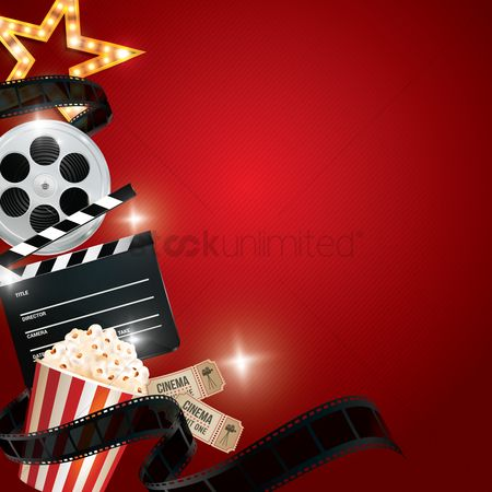 Retro : Cinema background with movie objects