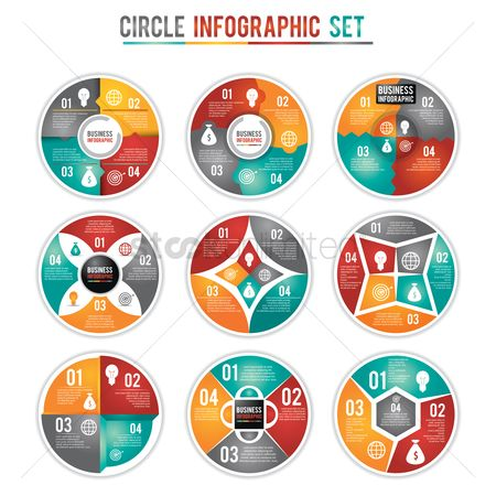 Flow : Circle infographic set
