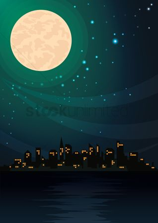 Illumination : City night view background