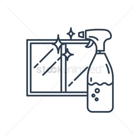 Housekeeping : Cleaning spray bottle and window