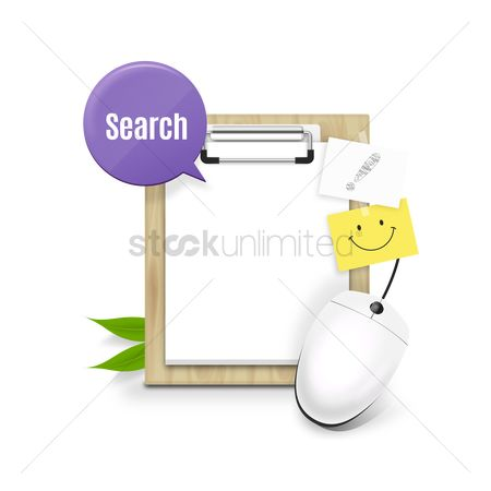 Sticky note : Clipboard with paper and computer mouse