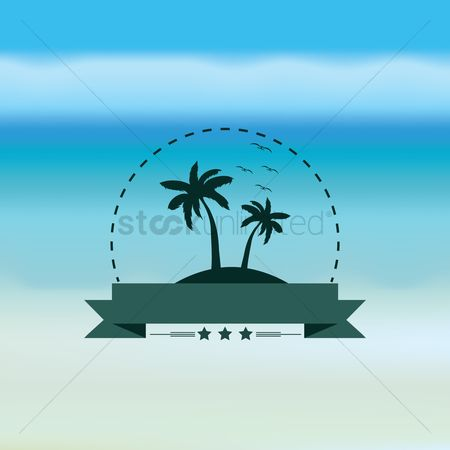 Coast : Coconut tree with banner