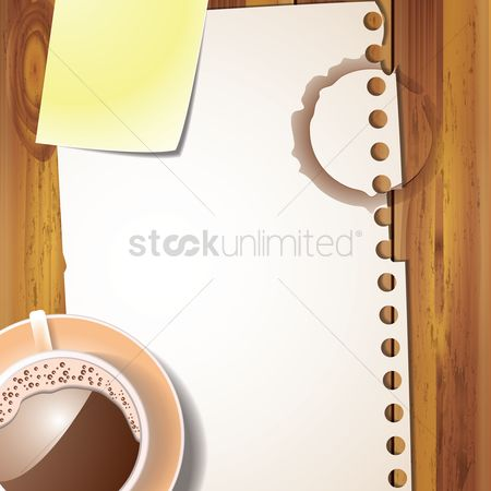 Sticky note : Coffee cup and paper on wooden table