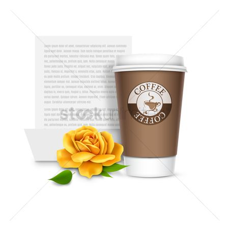 Cup : Coffee cup with yellow rose