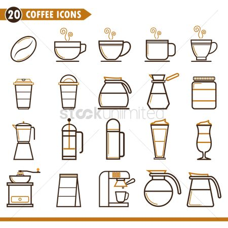 Fragrance : Coffee icons set