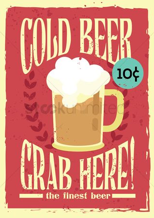 Retro : Cold beer poster