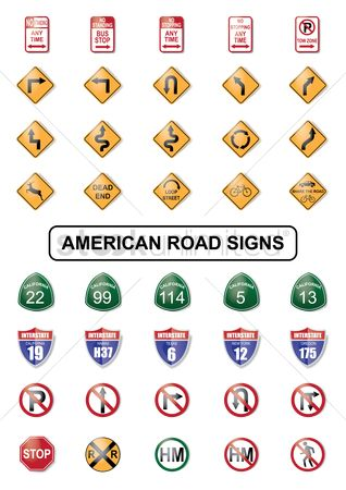 Oregon : Collection of american road sign