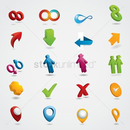 Map pointer : Collection of assorted icons