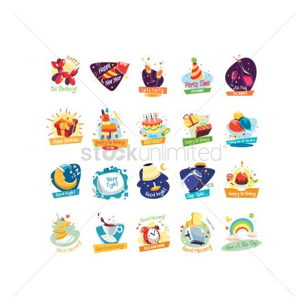 Confectionery : Collection of assorted icons