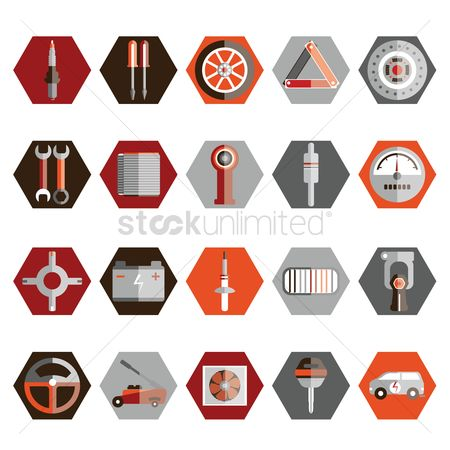 Car speedometer : Collection of auto parts and tools