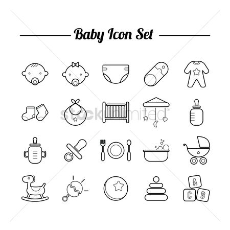 Plates : Collection of baby icon set