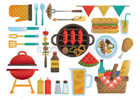 Watermelon : Collection of barbecue items