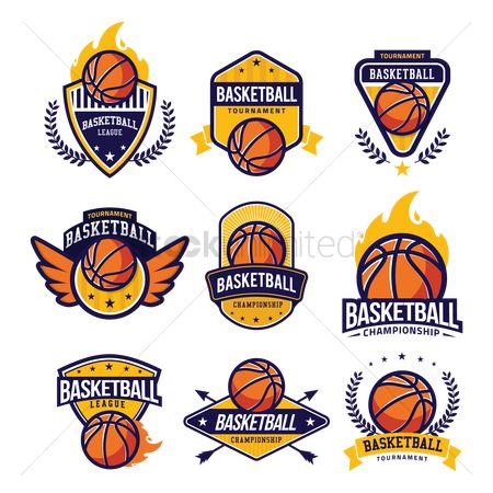 Shield : Collection of basketball labels