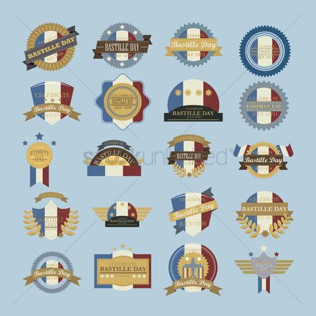 Tricolored : Collection of bastille day labels