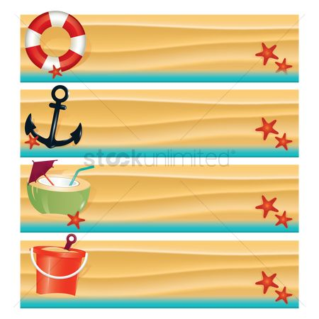 Starfishes : Collection of beach banners