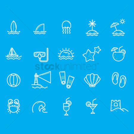 Starfishes : Collection of beach icons