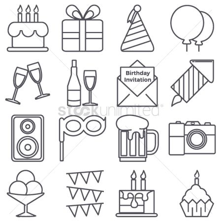 Beer : Collection of birthday icons