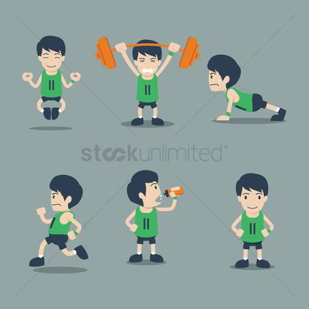 Energy : Collection of boys doing exercise