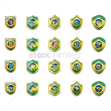 Toco toucan : Collection of brazil badges