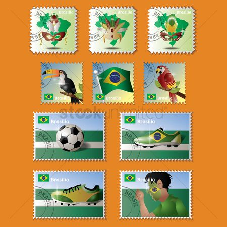 Headdress : Collection of brazil stamp