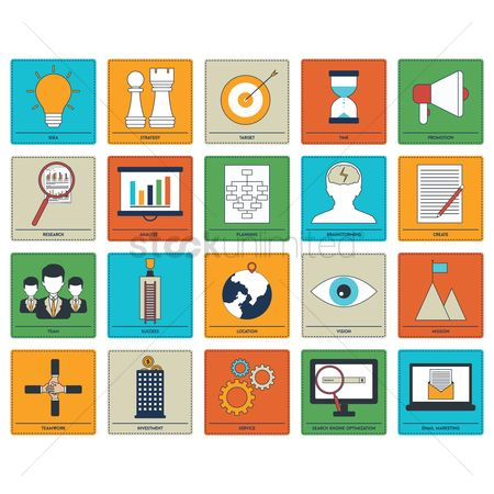 Magnifying : Collection of business strategy icons