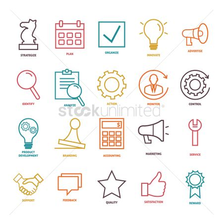 Linear : Collection of business strategy icons