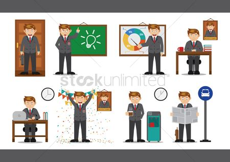 Blackboard : Collection of businessmen